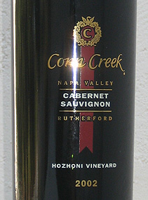 Conn Creek Winery 2002 Cabernet Sauvignon, Hozhoni Vineyard (Rutherford)