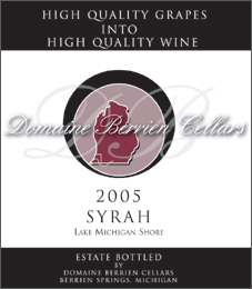 Wine:Domaine Berrien Cellars 2005 Syrah, Estate (Lake Michigan Shore)
