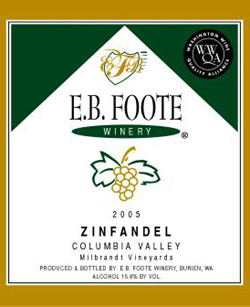 Wine:E.B. Foote Winery 2005 Zinfandel  (Columbia Valley)