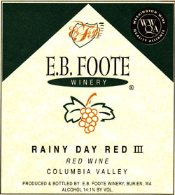 Wine:E.B. Foote Winery  Rainy Day Red III  (Columbia Valley)