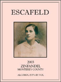 Escafeld Vineyards 2003 Zinfandel  (Monterey County)