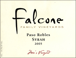 Wine:Falcone Family Vineyards 2005 Syrah, Mia's Vineyard (Paso Robles)