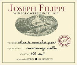 Joseph Filippi Winery & Vineyards NV Alicante Bouschet Port  (Cucamonga Valley)
