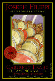 Joseph Filippi Winery & Vineyards 2003 Cabernet Franc Artist Series Reserve, Hippard Ranch Etiwanda (Cucamonga Valley)