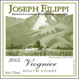 Wine:Joseph Filippi Winery & Vineyards 2005 Viognier  (South Coast)