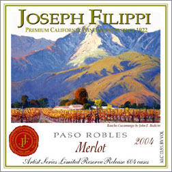 Wine:Joseph Filippi Winery & Vineyards 2004 Merlot Artist Series Reserve  (Paso Robles)