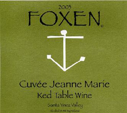 Foxen Winery and Vineyard 2004 Cuvee Jeanne Marie  (Santa Ynez Valley)