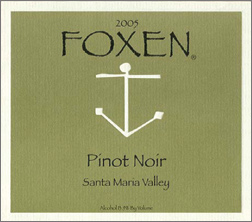 Wine:Foxen Winery and Vineyard 2005 Pinot Noir  (Santa Maria Valley)