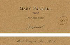 Gary Farrell Wines 2003 Zinfandel, Maple Vineyard - Tina's Block (Dry Creek Valley)