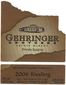 Wine:Gehringer Brothers Estate Winery 2006 Riesling Private Reserve  (Okanagan Valley)