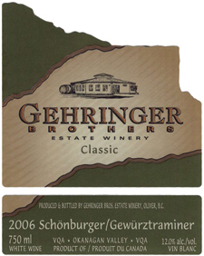 Wine:Gehringer Brothers Estate Winery 2006 Schönburger-Gewürztraminer Classic  (Okanagan Valley)