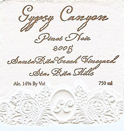 Gypsy Canyon Vineyards 2005 Pinot Noir, Santa Rita Creek Vineyard (Sta. Rita Hills)