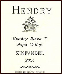 Wine: Hendry Wines 2004 Block 7 Zinfandel  (Napa Valley)