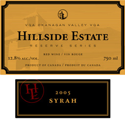 Hillside Estate Winery 2005 Reserve Syrah, Hidden Valley (Okanagan Valley)