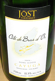 Jost Vineyards 2004 Cote de Bras D'Or Cayuga  (Nova Scotia)