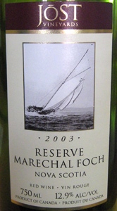 Wine:Jost Vineyards 2003 Marechal Foch Reserve  (Nova Scotia)