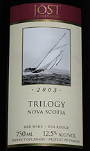 Wine:Jost Vineyards 2003 Trilogy  (Nova Scotia)