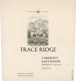 Wine:Highland Estates - Kendall Jackson Vineyard Estates 2004 Cabernet Sauvignon, Trace Ridge (Knights Valley)
