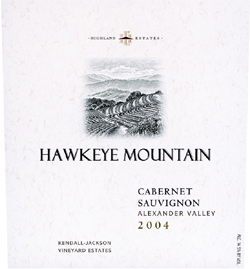 Wine:Highland Estates - Kendall Jackson Vineyard Estates 2004 Cabernet Sauvignon, Hawkeye Mountain (Alexander Valley)