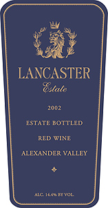 Wine: Lancaster Estate Winery 2002 Lancaster Red Wine, Estate (Alexander Valley)
