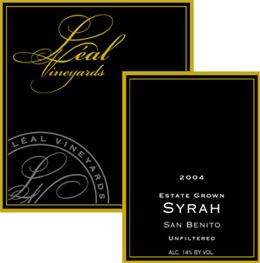 Leal Estate Vineyards 2004 Syrah, Unfiltered, Estate (San Benito)