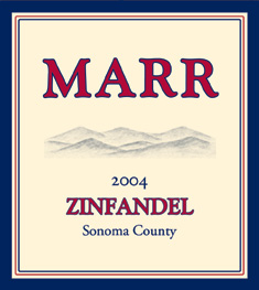 Marr Cellars 2004 Old Vine Zinfandel, Mattern Ranch (Mendocino County)