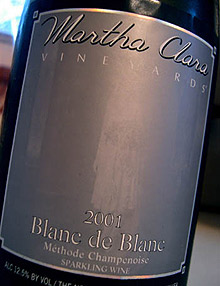 Martha Clara Vineyards 2001 Blanc de Blanc  (North Fork of Long Island)