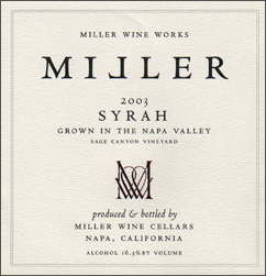 Miller Wine Works 2003 Syrah