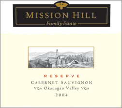 Mission Hill 2004 Reserve Cabernet Sauvignon  (Okanagan Valley)