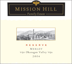 Mission Hill 2004 Reserve Merlot  (Okanagan Valley)