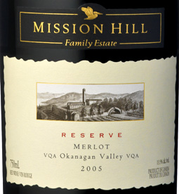 Mission Hill Winery 2005 Reserve Merlot  (Okanagan Valley)