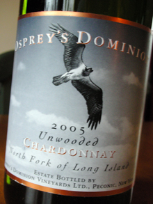 Osprey's Dominion Vineyards 2005 Unwooded Chardonnay  (North Fork of Long Island)