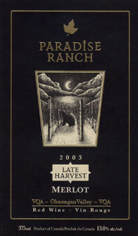 Wine:Paradise Ranch Wines 2003 Merlot Late Harvest  (Okanagan Valley)