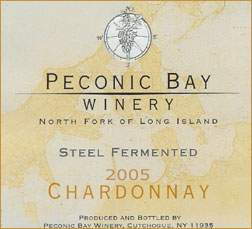 Wine:Peconic Bay Winery 2005 Steel Fermented Chardonnay  (North Fork of Long Island)