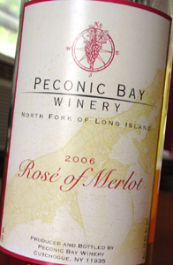 Wine:Peconic Bay Winery 2006 Rosé of Merlot  (North Fork of Long Island)