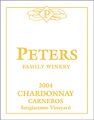 Peters Family Winery 2004 Chardonnay, Sangiacomo Vineyard (Carneros ~ Los Carneros)
