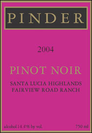 Pinder Winery 2004 Pinot Noir, Fairview Road Ranch (Santa Lucia Highlands)