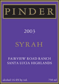 Pinder Winery 2003 Syrah  (Santa Lucia Highlands)