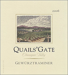 Wine:Quails' Gate Estate Winery 2006 Gewurztraminer  (Okanagan Valley)