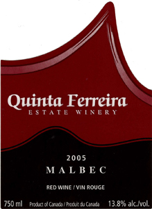 Quinta Ferreira Estate Winery 2005 Malbec  (Okanagan Valley)