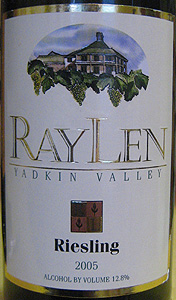 RayLen Vineyards 2005 Riesling  (Yadkin Valley)