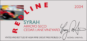 Redline Wines 2004 Syrah, Cedar Lane Vineyard (Arroyo Seco)