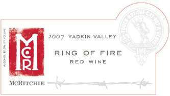 Wine: McRitchie Winery & Ciderworks 2007 Ring of Fire  (Yadkin Valley)