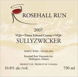 Wine:Rosehall Run Vineyards 2007 Sullyzwicker  (Prince Edward County)
