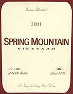 Spring Mountain Vineyard Cabernet 2001