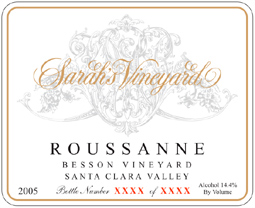 Wine:Sarah's Vineyard 2005 Roussanne, Besson Vineyard (Santa Clara Valley)