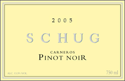 Wine: Schug Carneros Estate Winery 2005 Pinot Noir  (Carneros ~ Los Carneros)