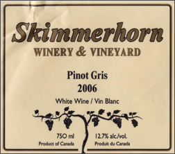 Wine:Skimmerhorn Winery & Vineyard 2006 Pinot Gris  (British Columbia)