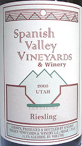 Spanish Valley Vineyards 2005 Riesling (Utah)