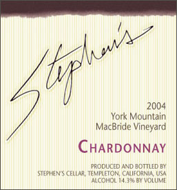 Stephen's Cellar 2004 Chardonnay, MacBride Vineyard (York Mountain)